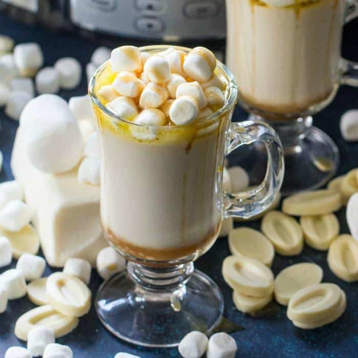 Caramel white hot chocolate