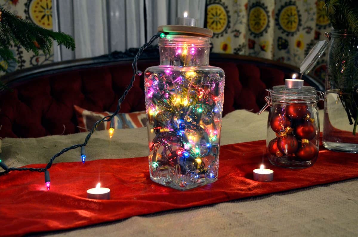 Christmas light glass jar centre piece