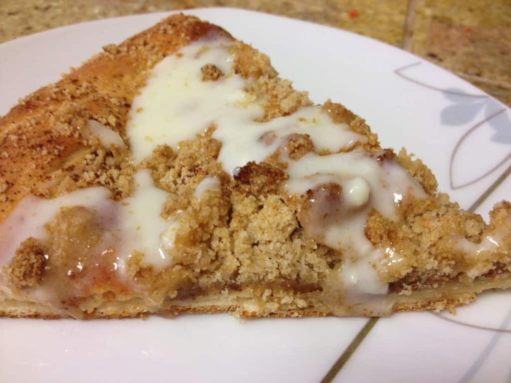 Cinnamon brown sugar streusel pizza