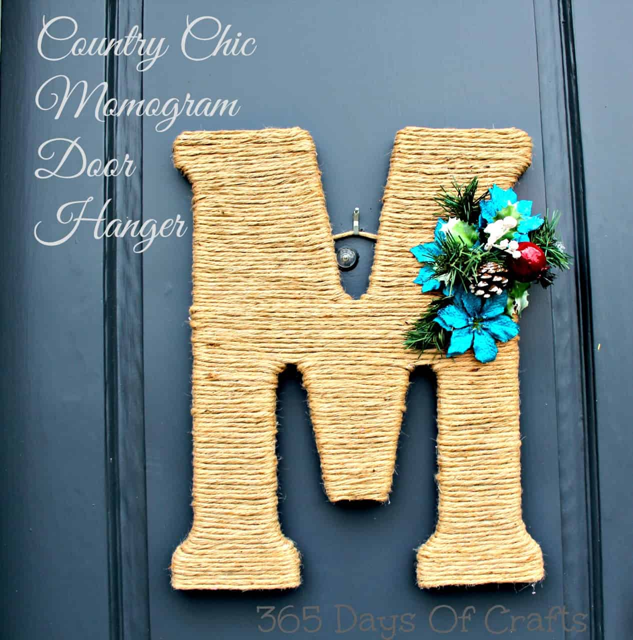 Country string wrapped monogrammed door hanger
