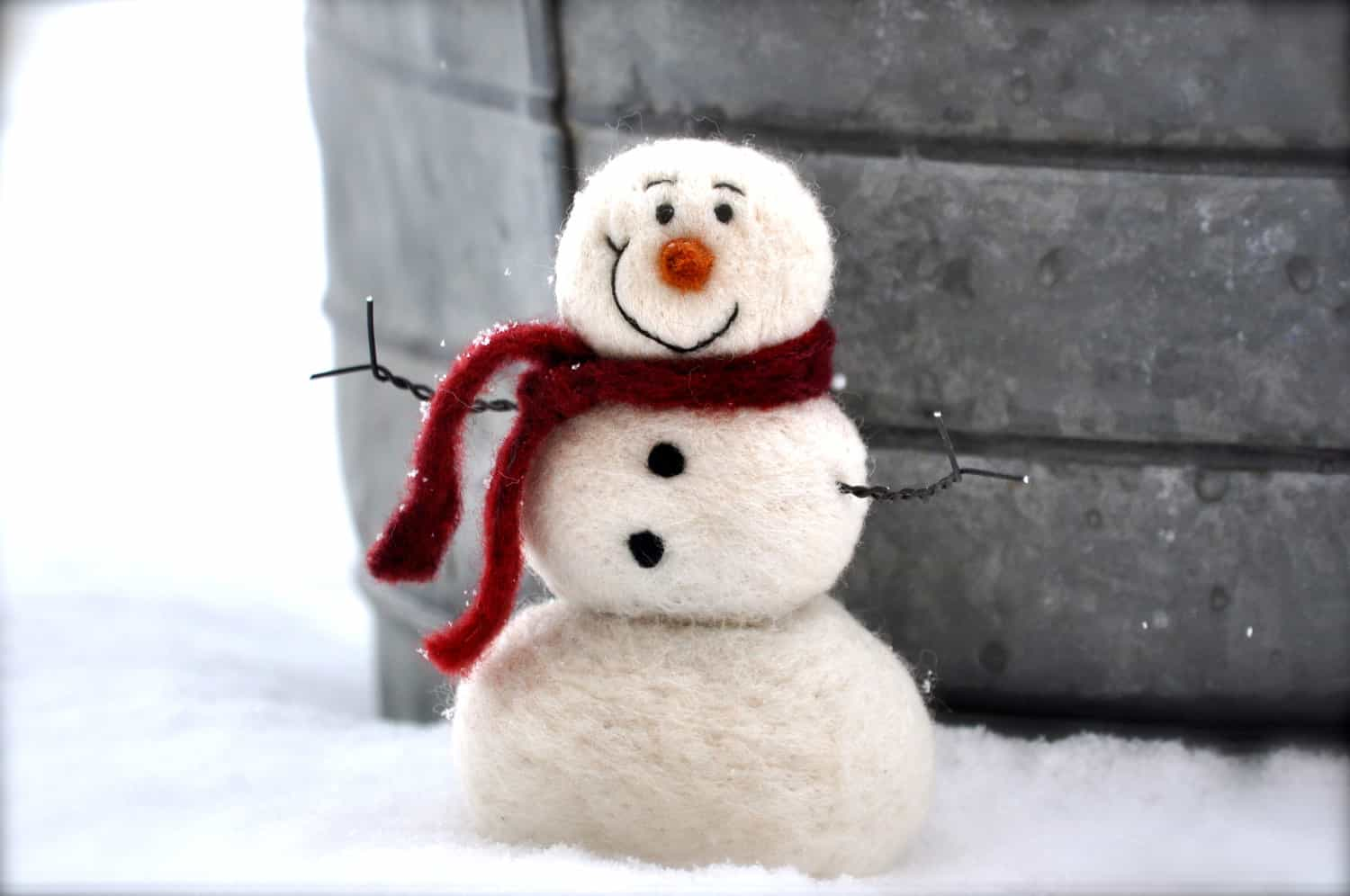 Cute needle felted snowman