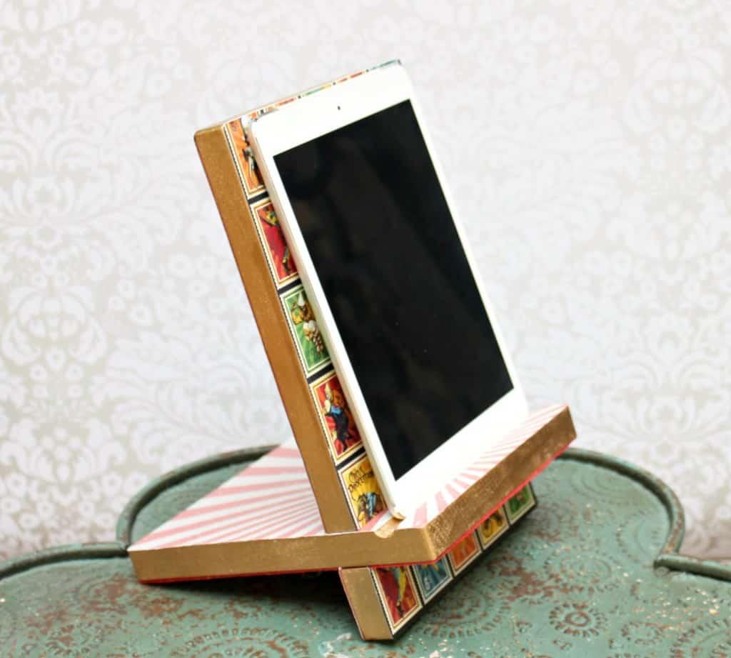 Decoupaged wooden tablet stand