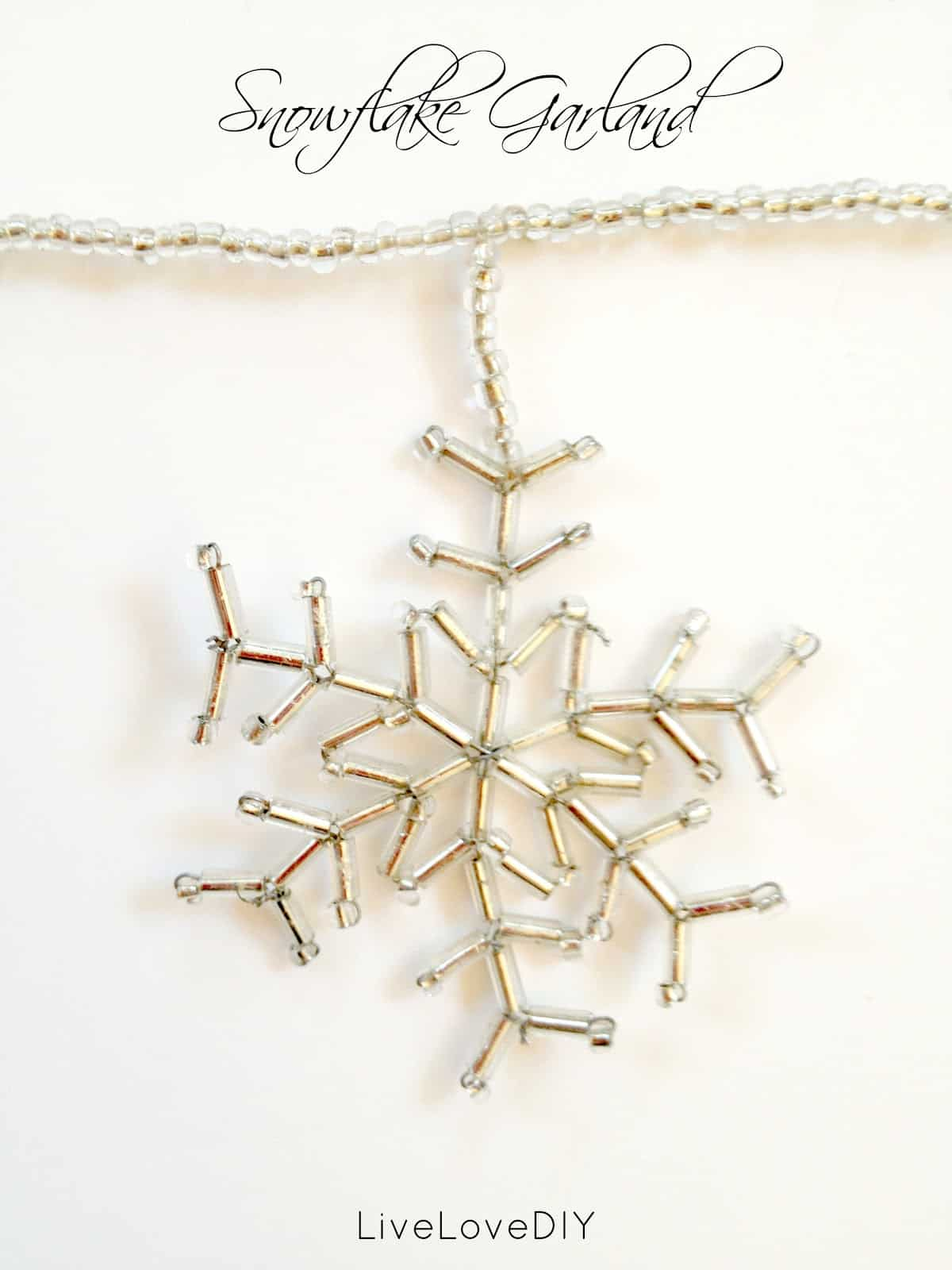 Delicate beaded snowflake garland