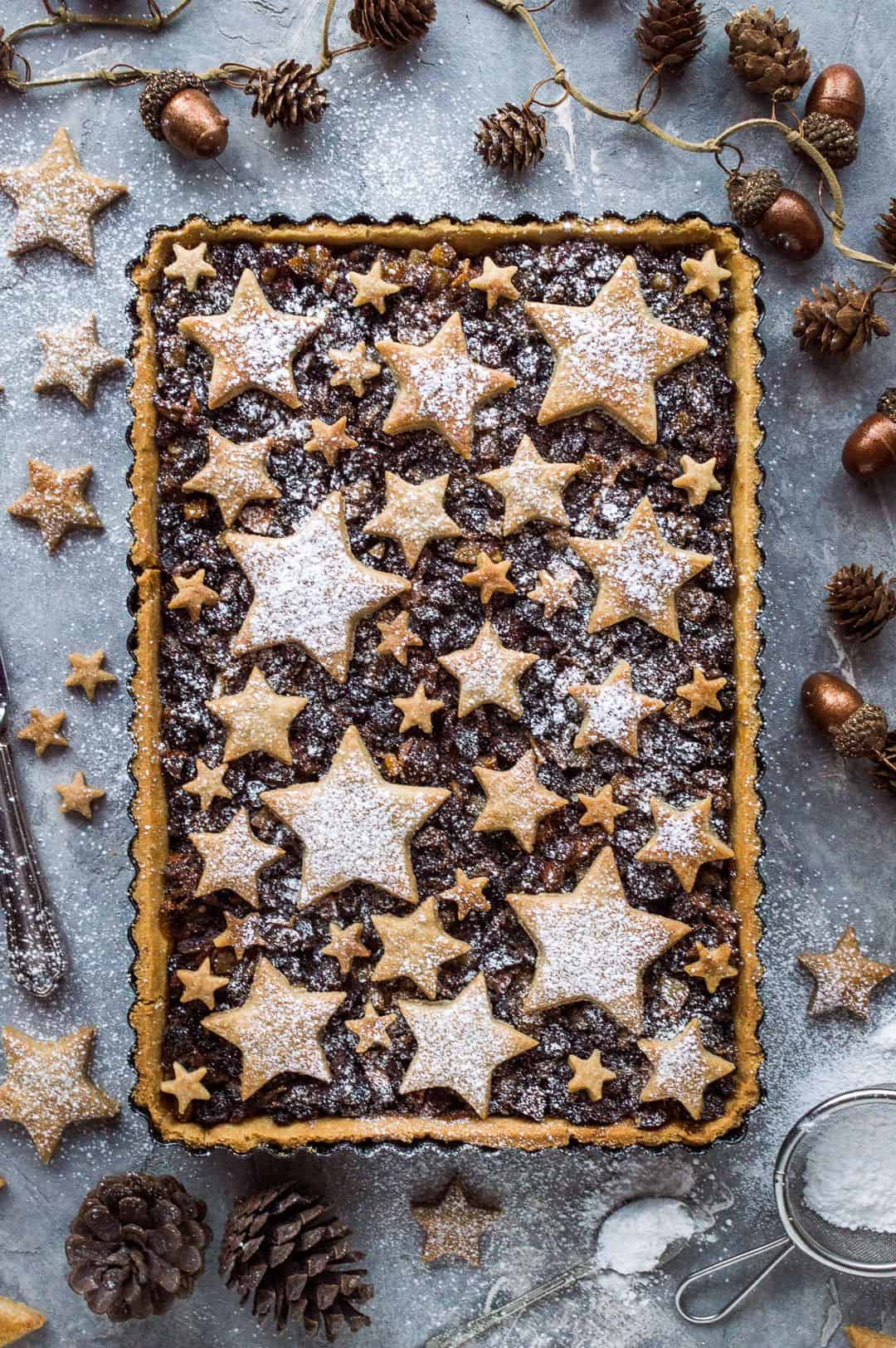 Delicious festive starry mince pie tart