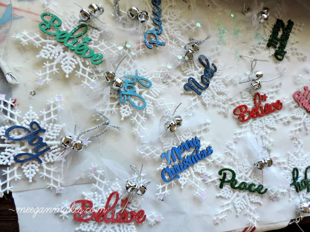 Embellished dollar store snowflake ornaments