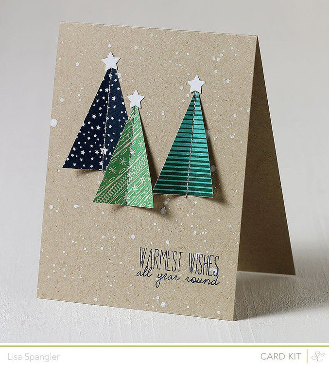 Embroidered tree card