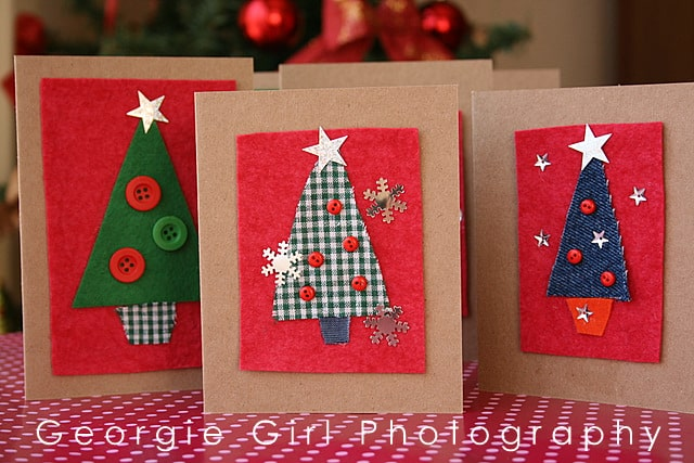 Fabric and button christmas trees