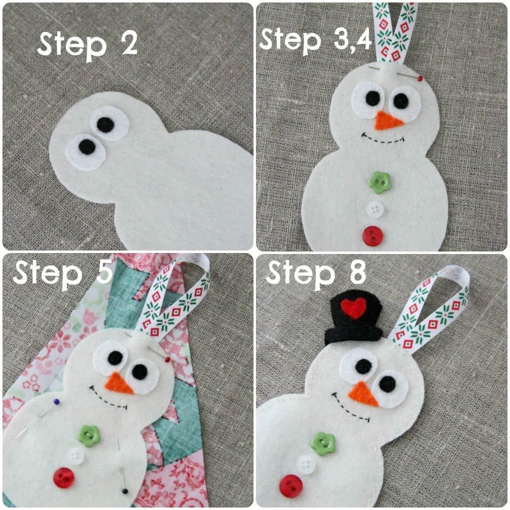 Felt and button snowman decoration