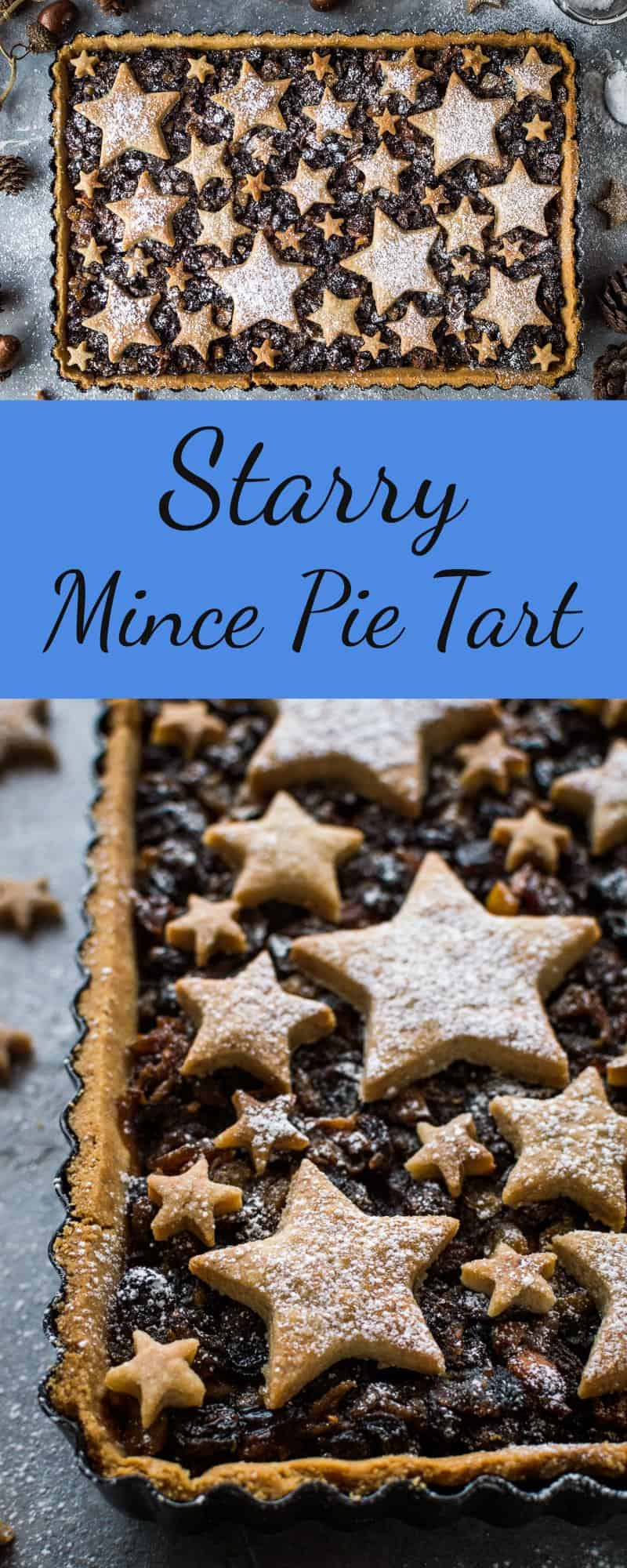 Festive starry mince pie tart collage