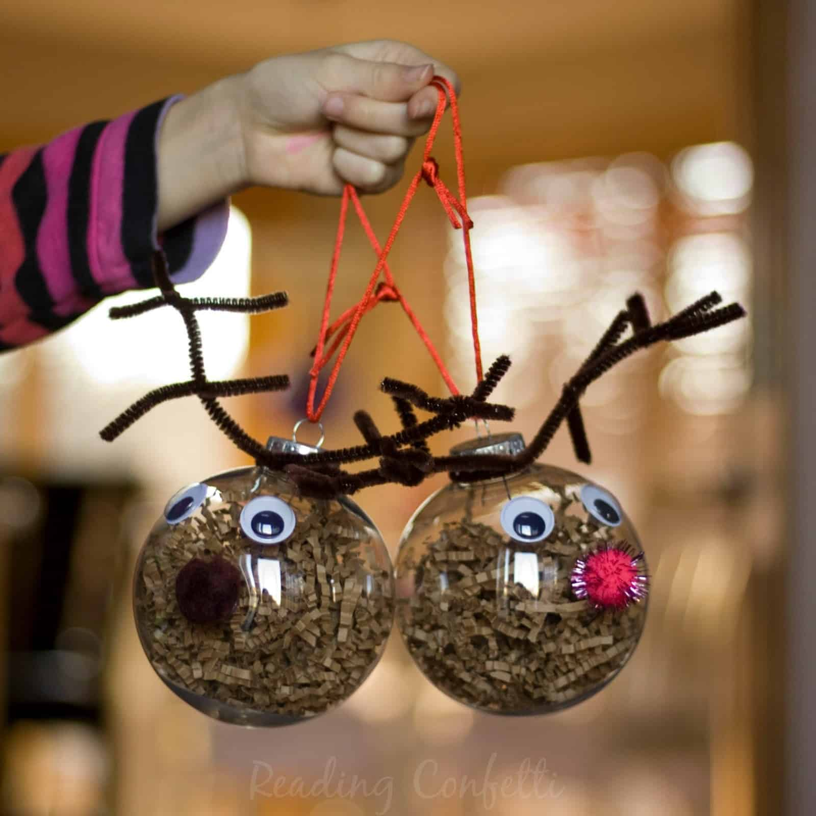 Filled ornament and pipe cleaner reindeer