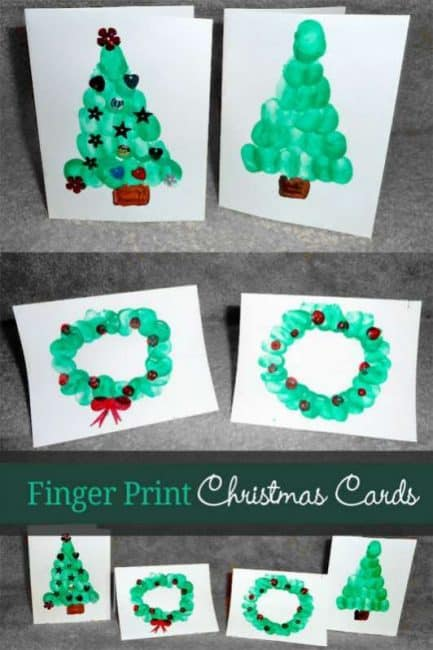 Finger print christmas cards