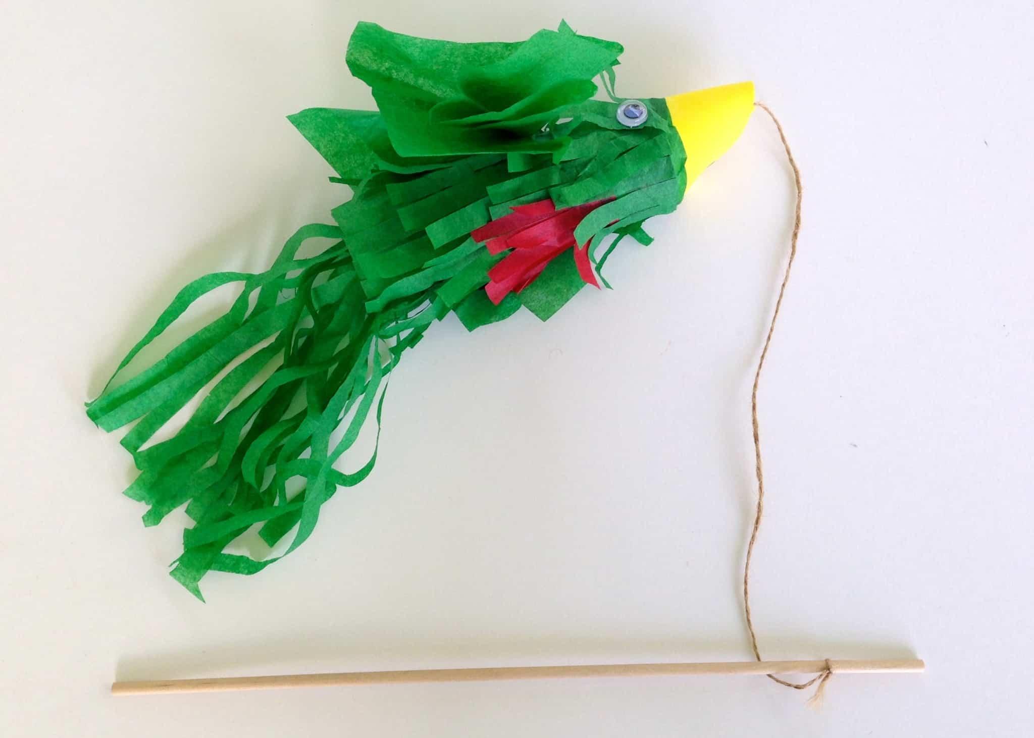Flying tissue paper parrot