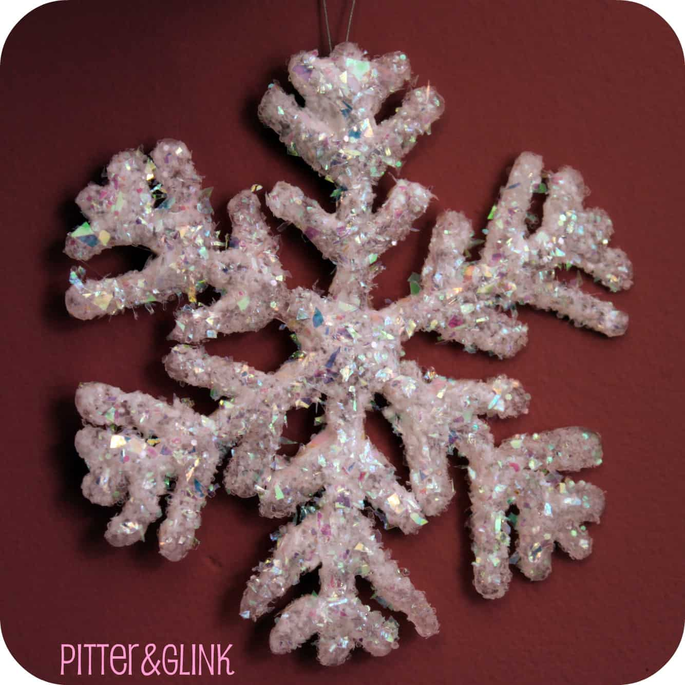 Glittery hot glue snowflakes
