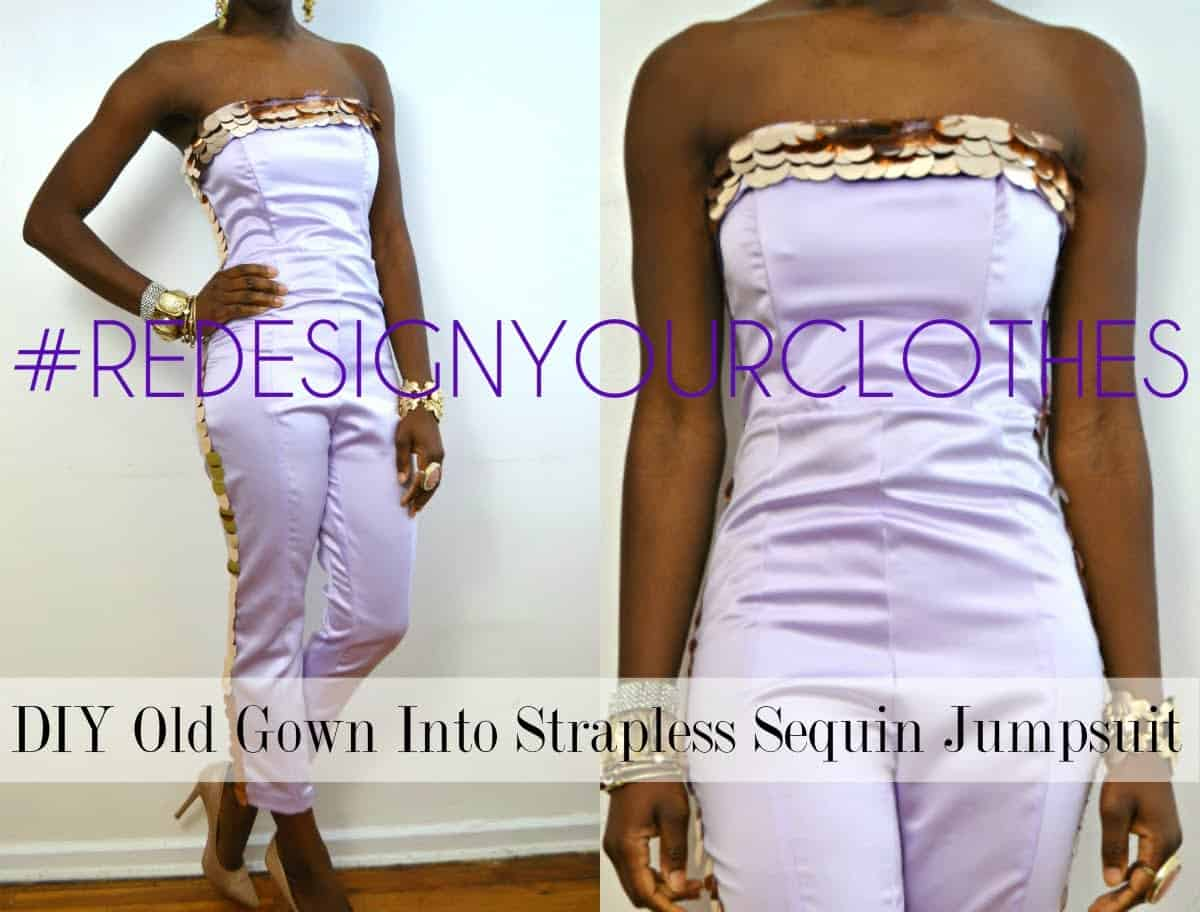 Gown to strapless sequinned jumpsuit