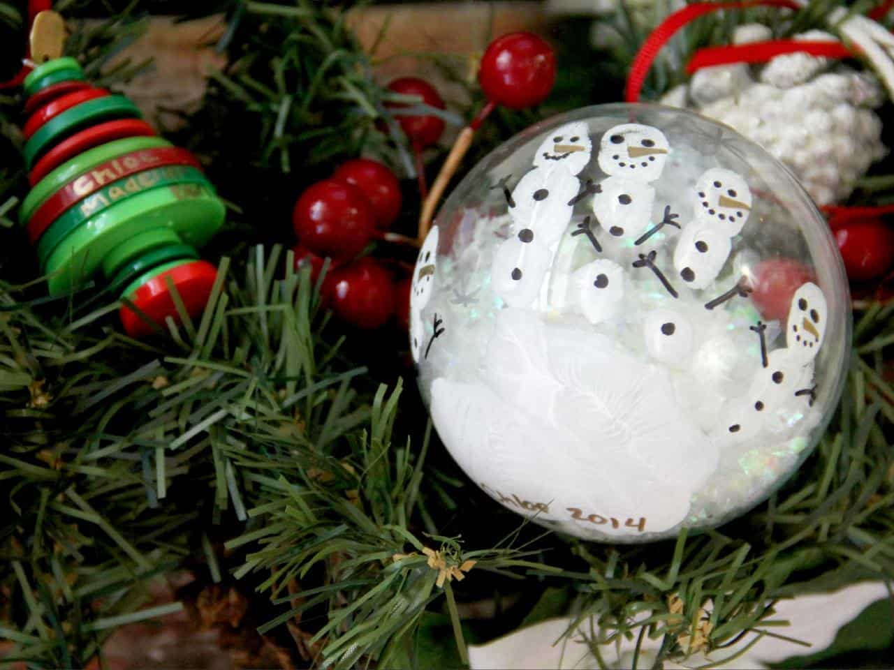 Handprint snowman christmas ball