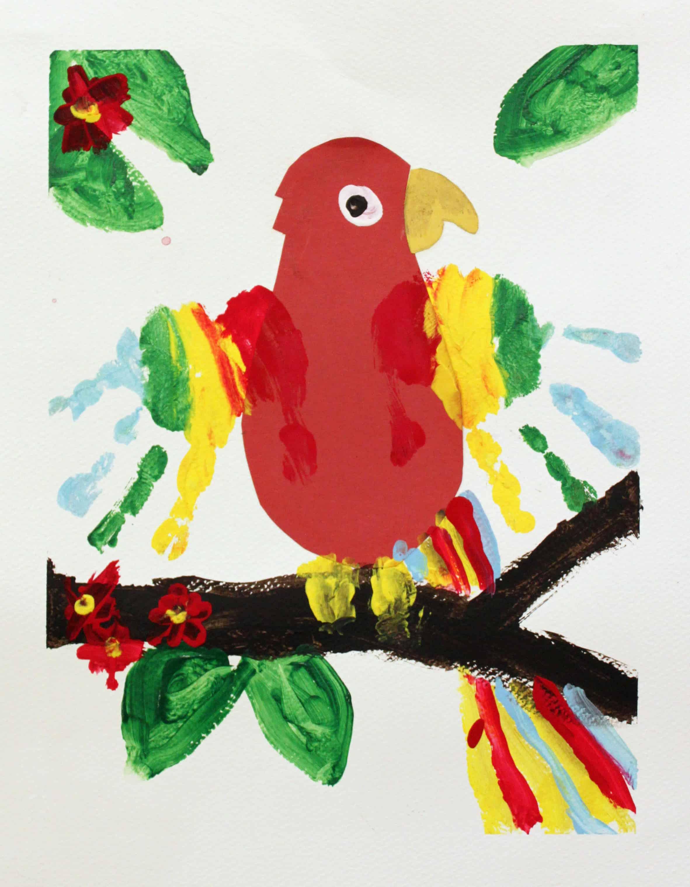 Handprint wing parrots