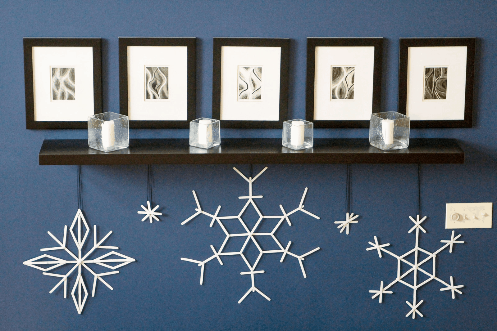 Hanging popsicle stick snowflakes