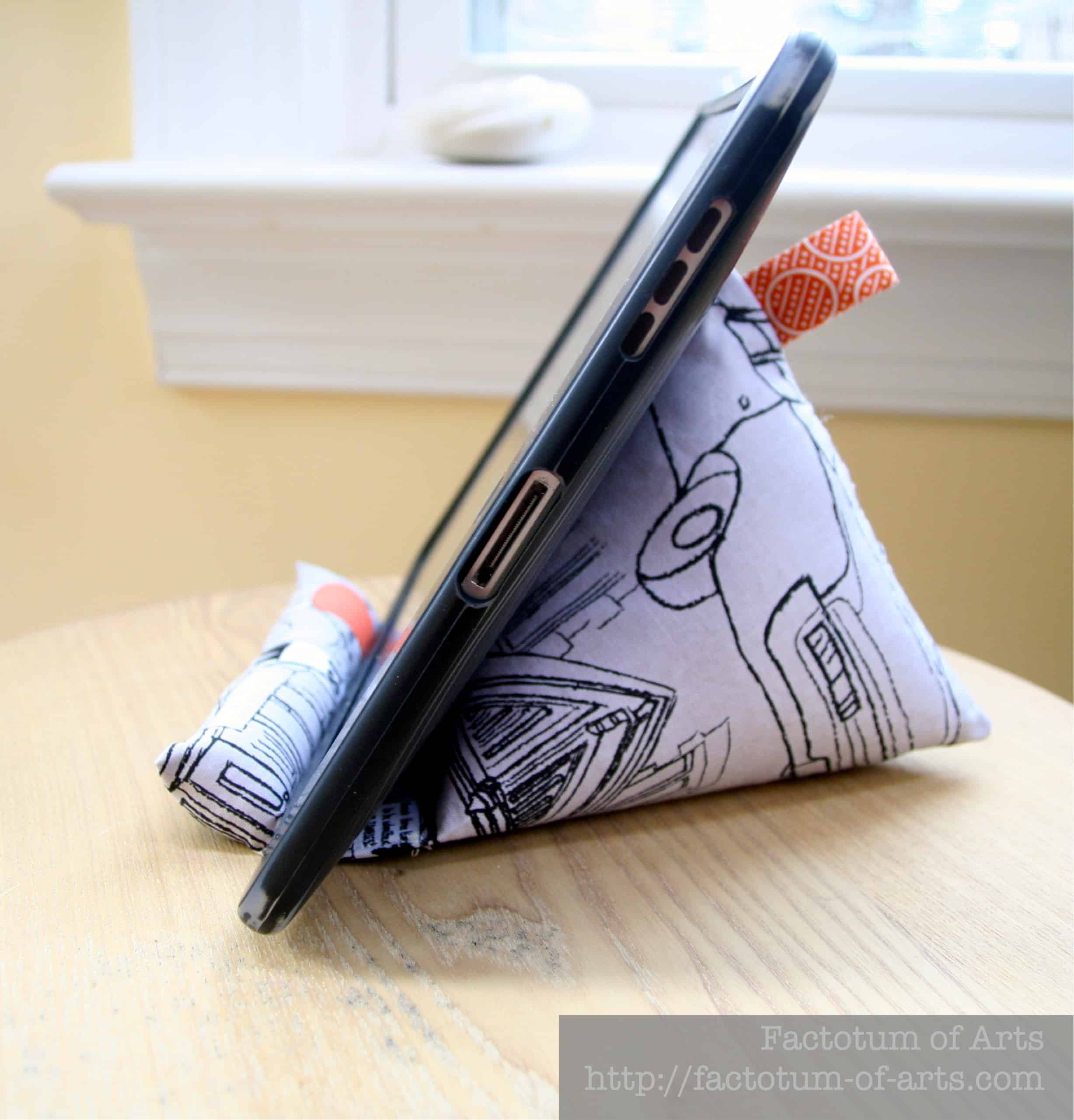 Home sewn beanbag tablet stand