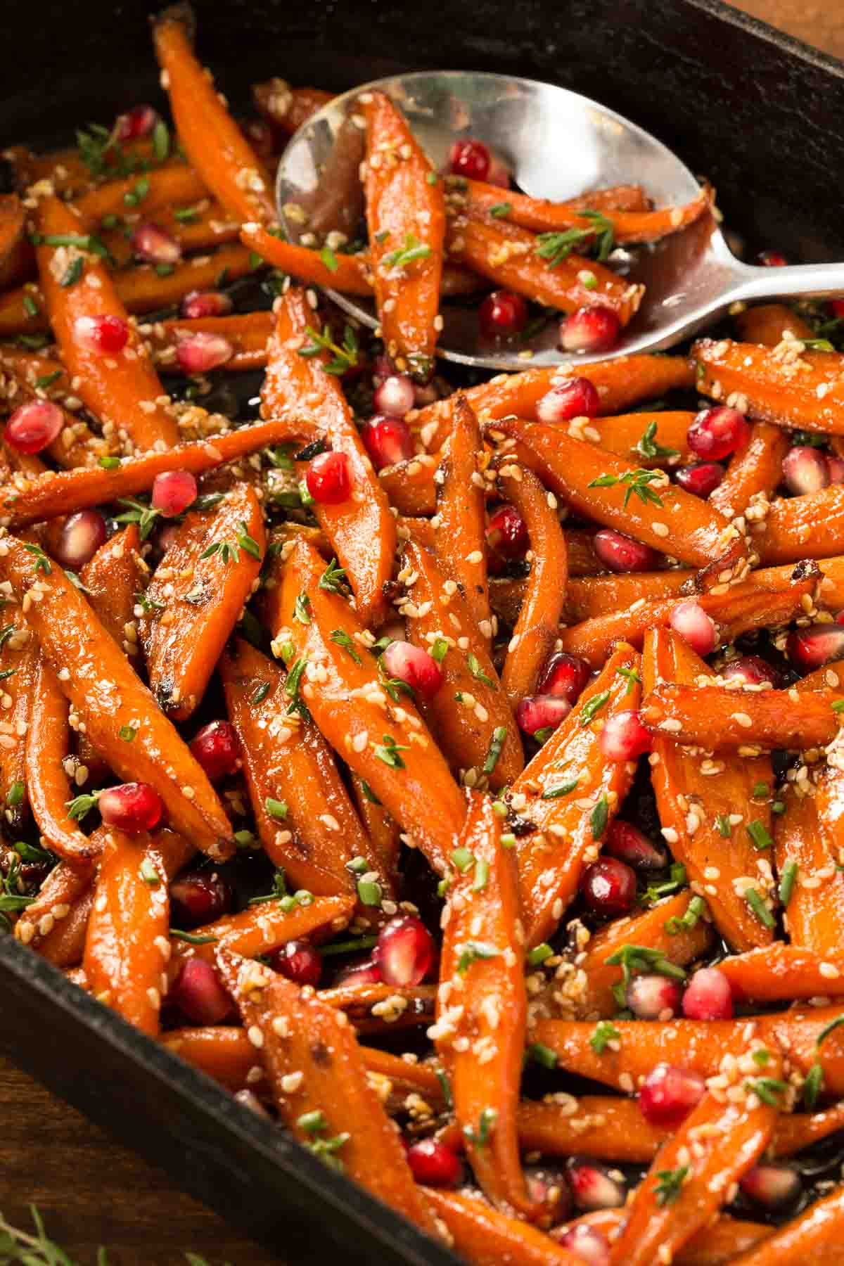 Honey maple roasted carrots with pomegranate