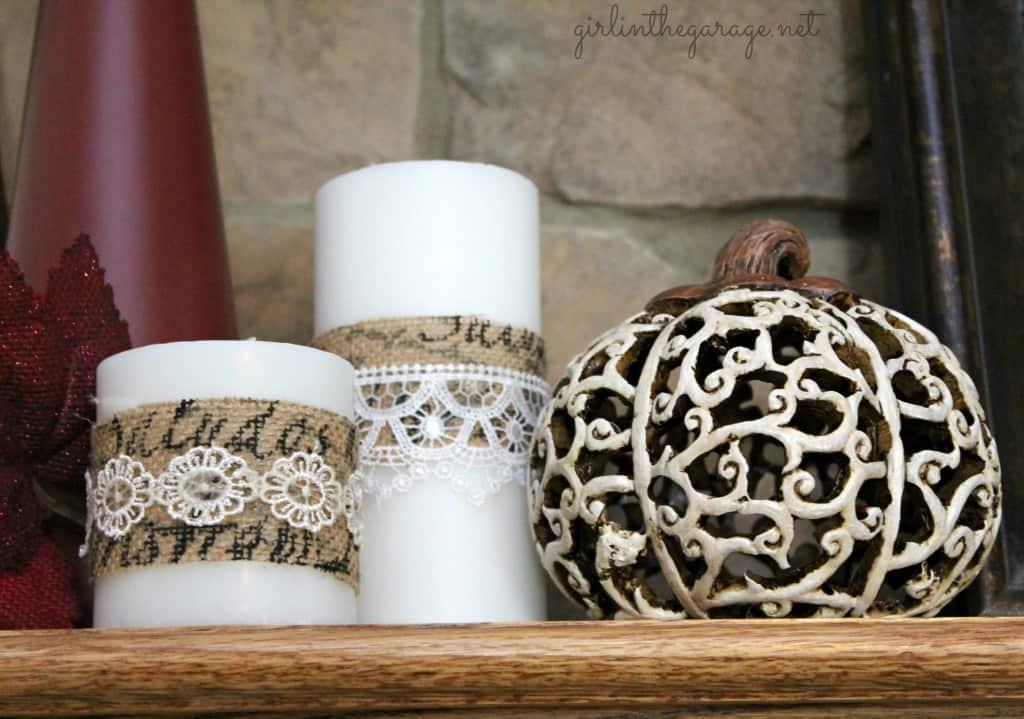 Lace decoupage candle wraps