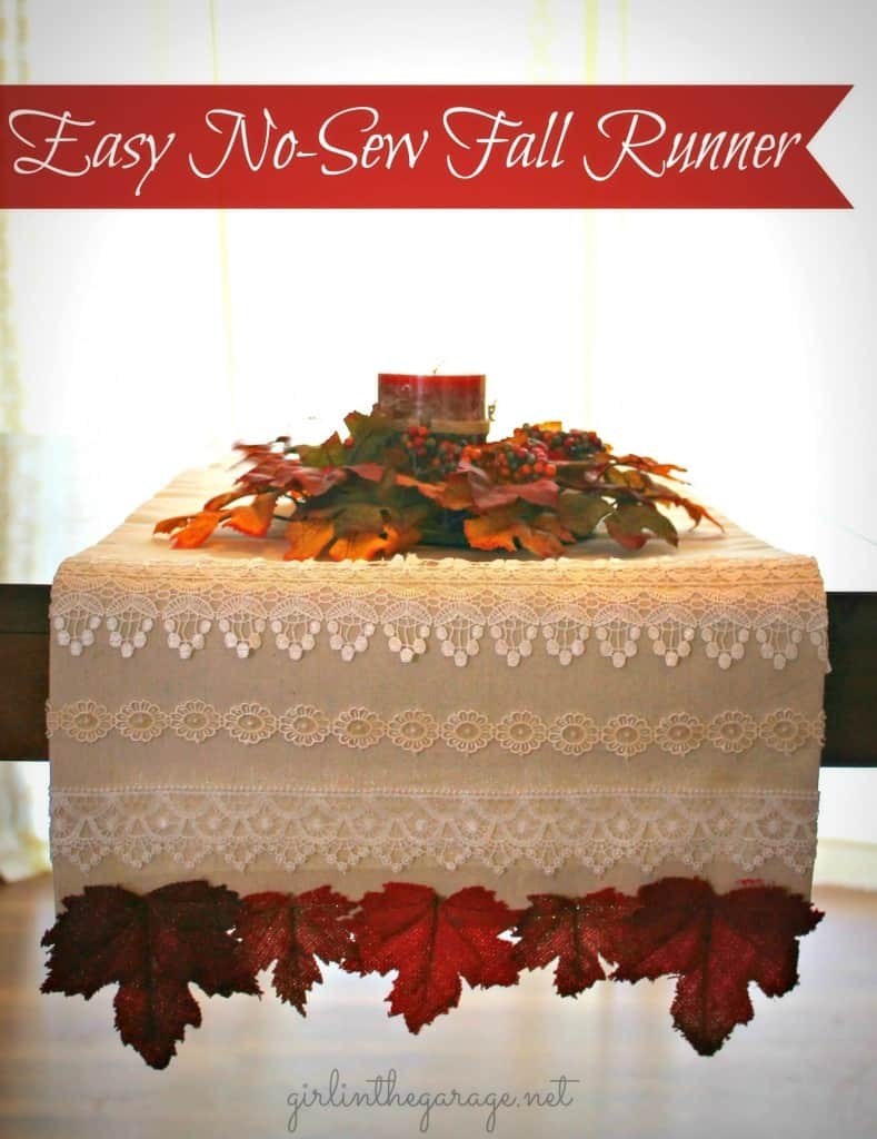 Lace decoupage fall table runner