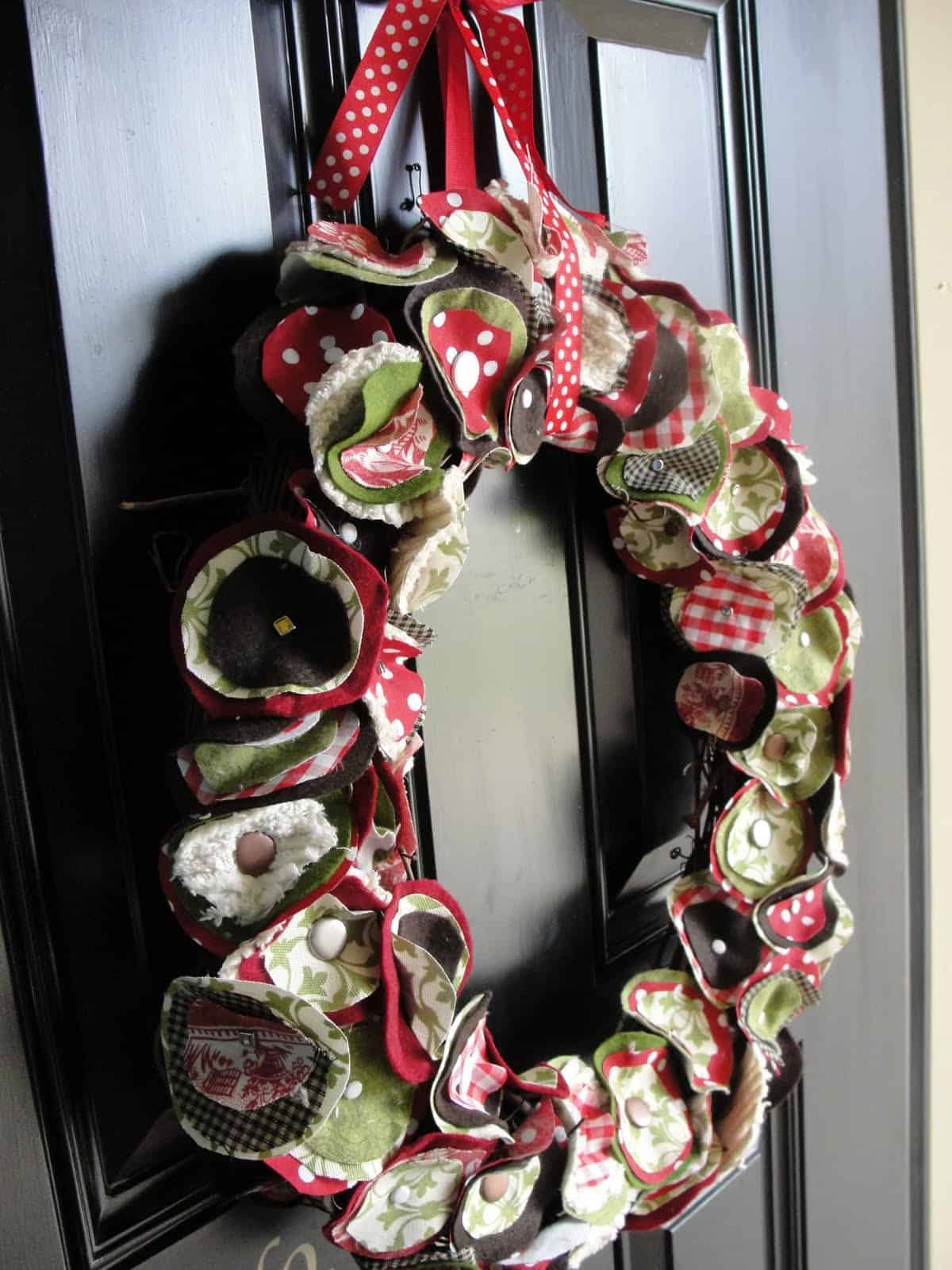 Layered fabric circles wreath