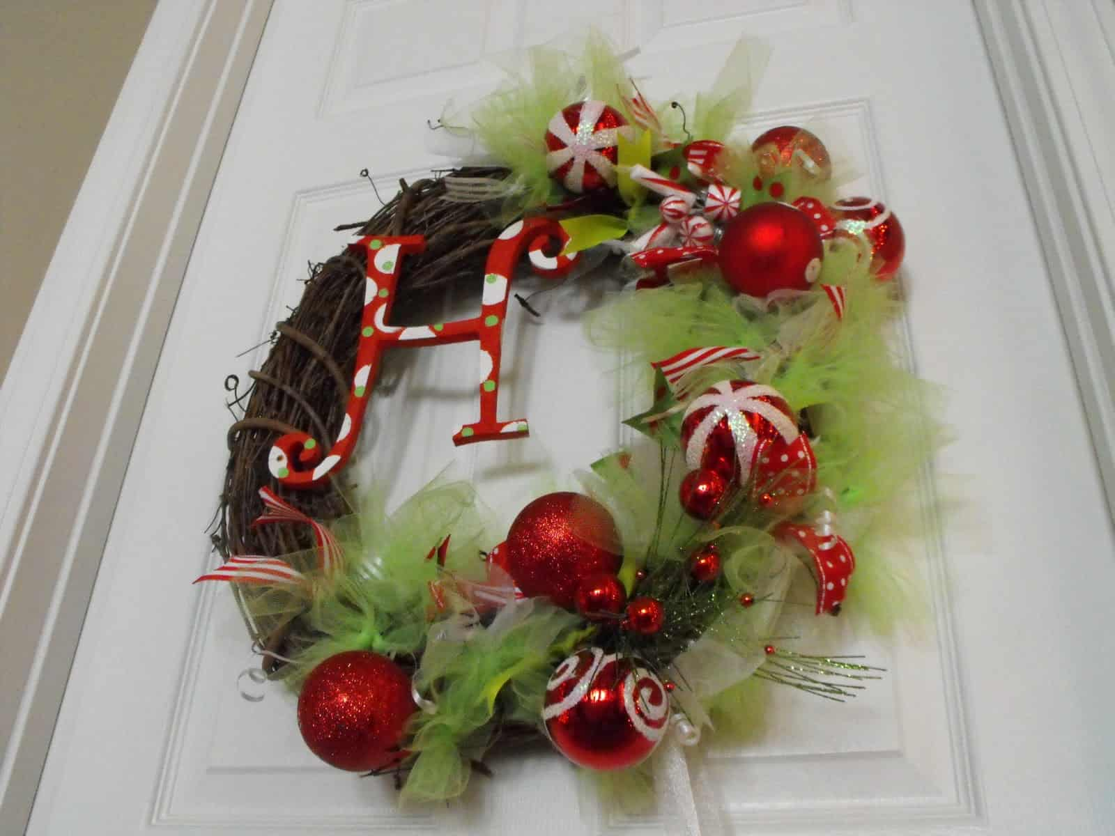Monogram, bobbles, and tulle wreath