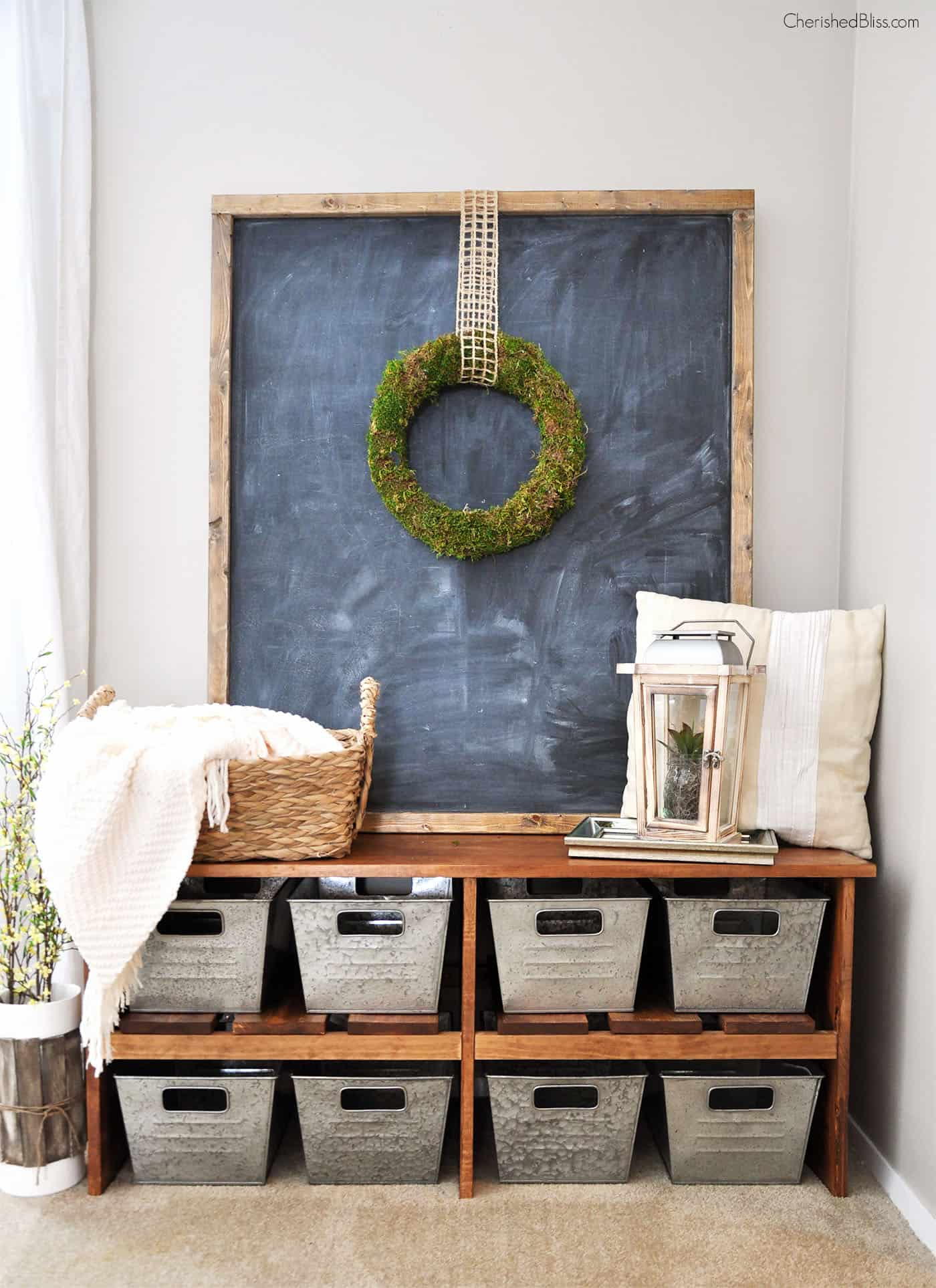 Organized metal baskets for entryway