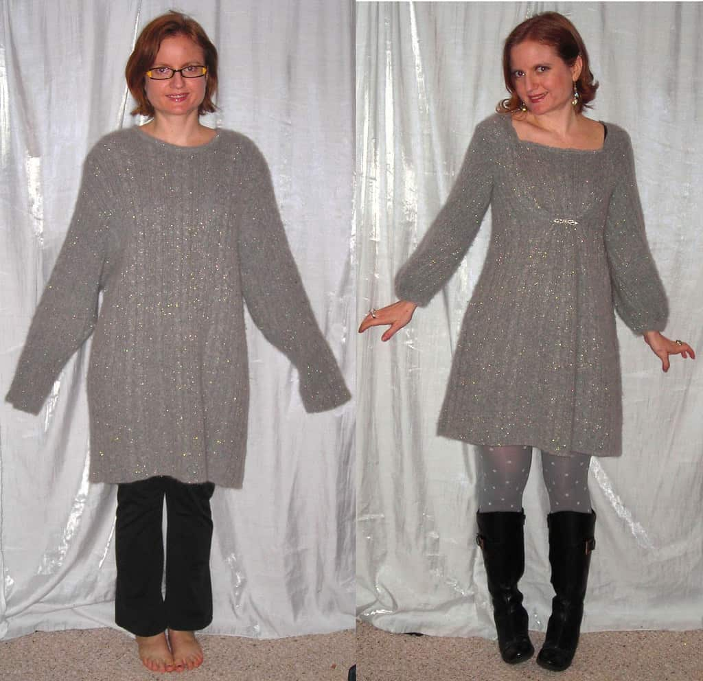 Oversized sweater into sparkling cinched dress