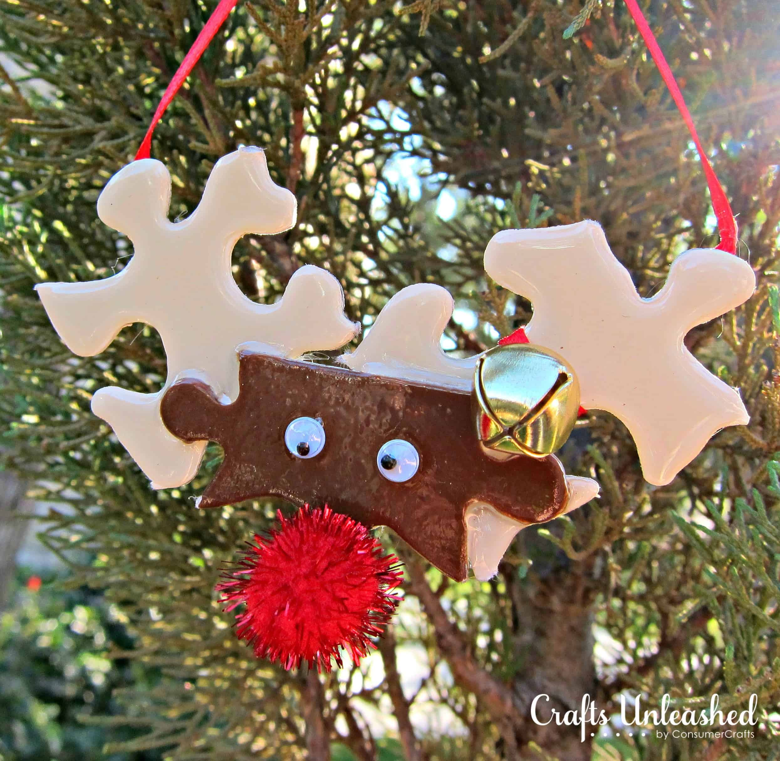 Painted puzzle piece reindeer ornament