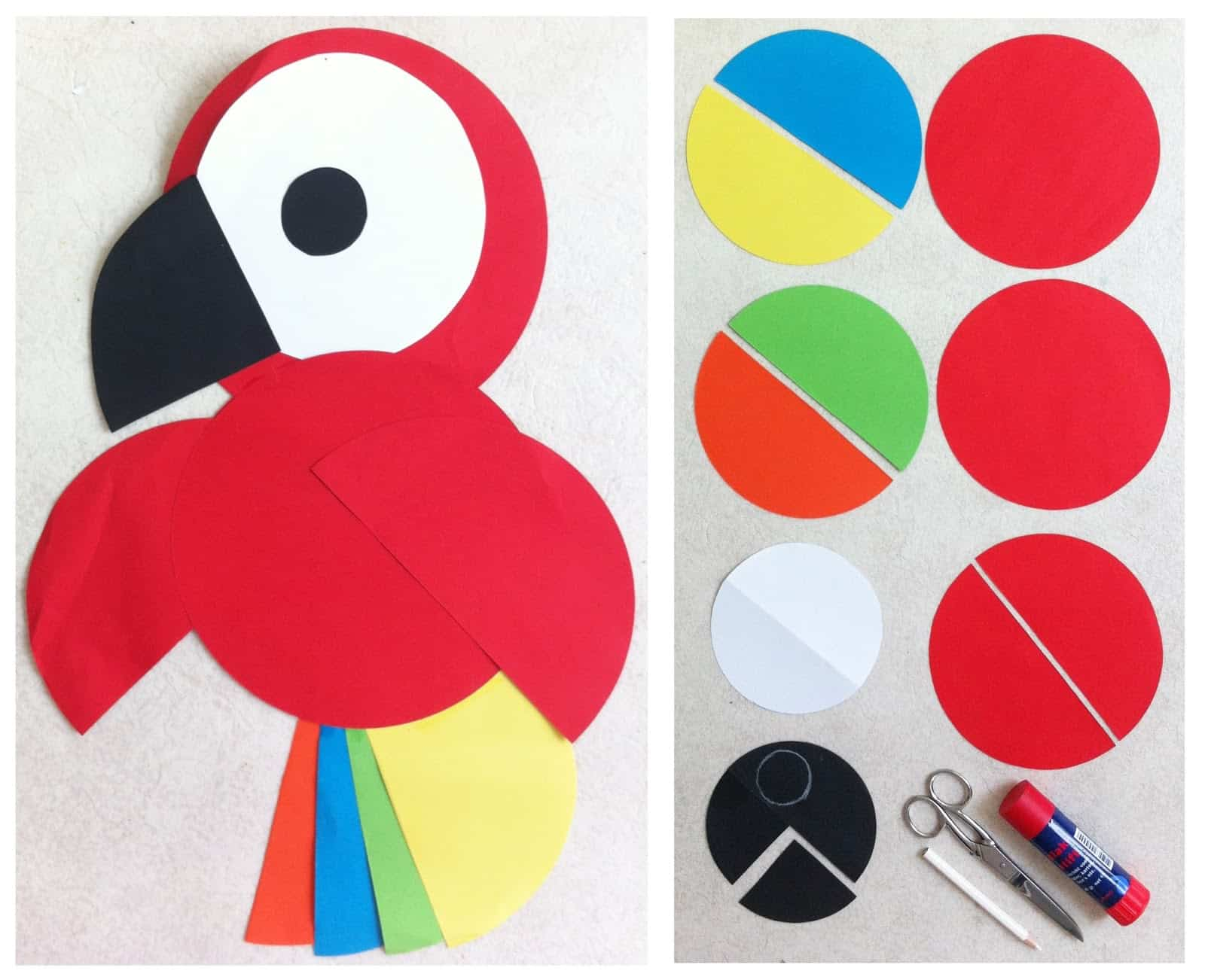 Paper parrot made from circles