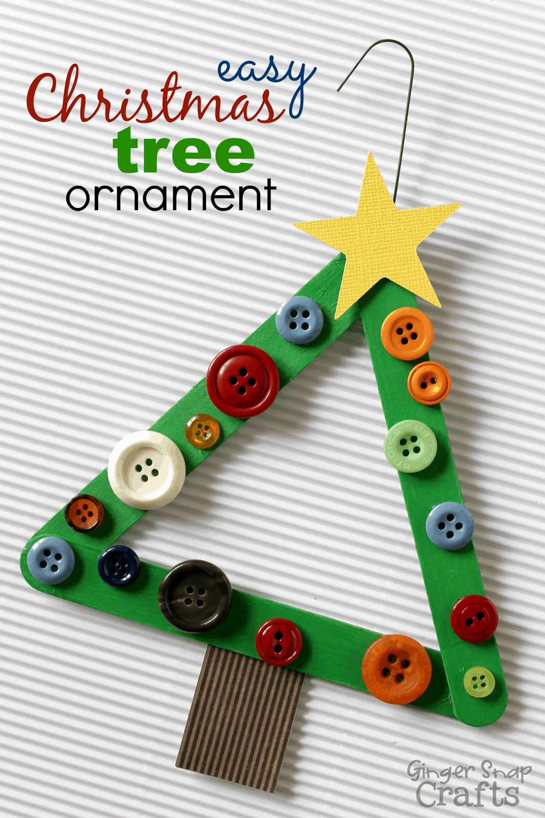 Popsicle stick and button christmas trees