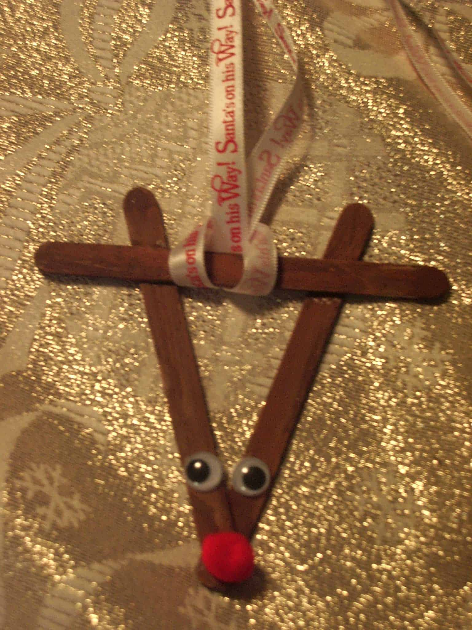 Popsicle stick and pom pom reindeer ornament