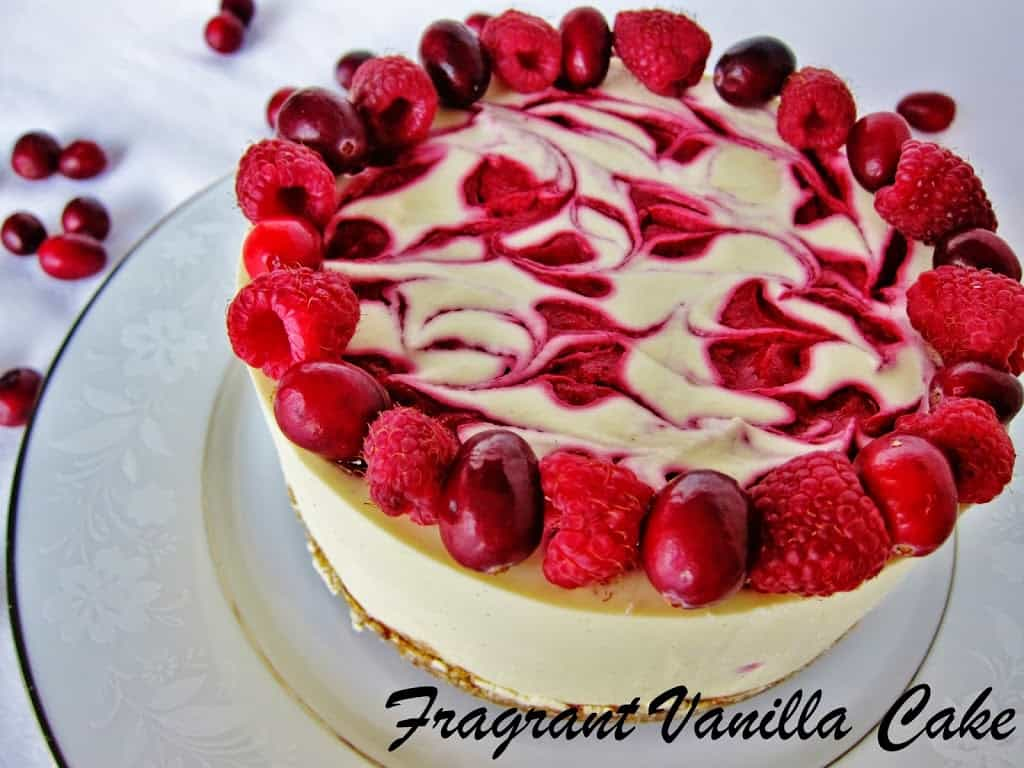 Raw cranbrery raspberry white chocolate cake