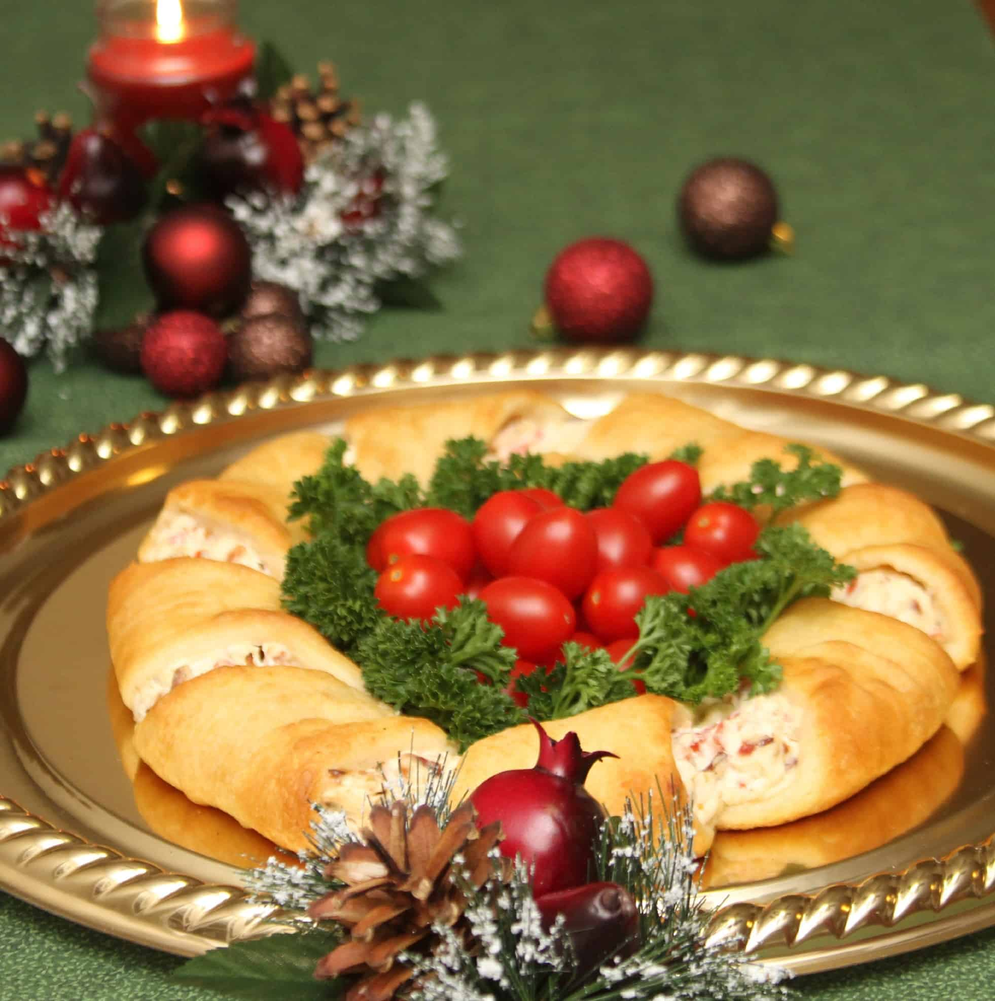 Sausage and cheese stuffed cresecent roll christmas wreath