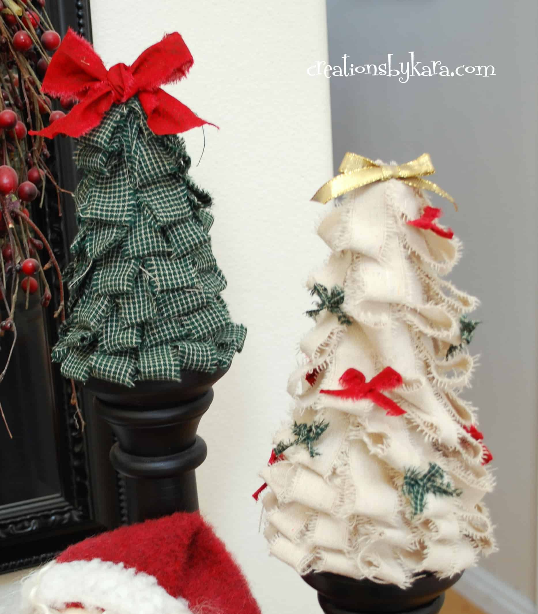 Scrap fabric strip christmas trees