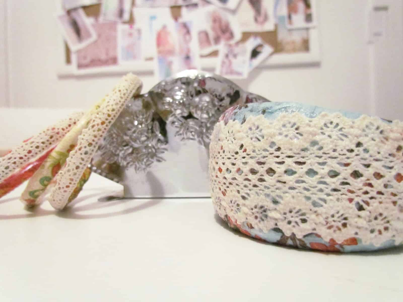 Shabby chic lace decoupage bangle