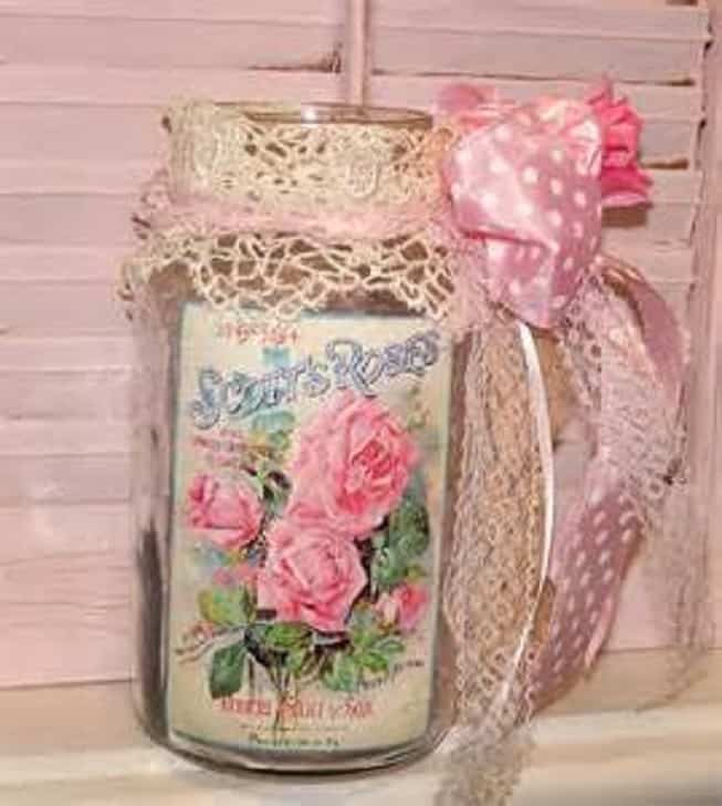Shabby chich vintage label and lace jar decor