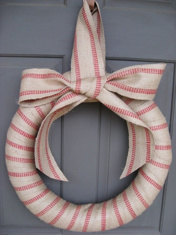 Simple rustic ribbon wrapped wreath