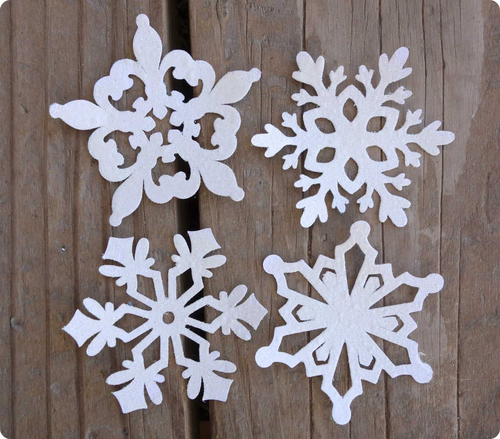 Sparkly foam paper snowflake ornaments