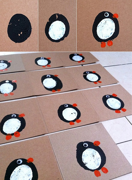 Stamped penguin card