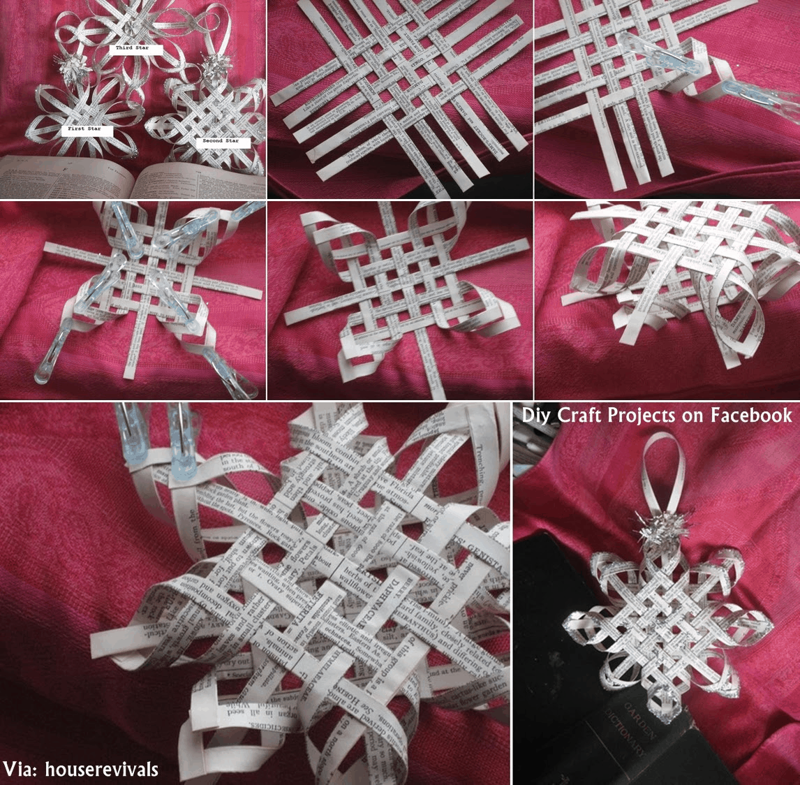 Stripped newspaper woven snowflakes