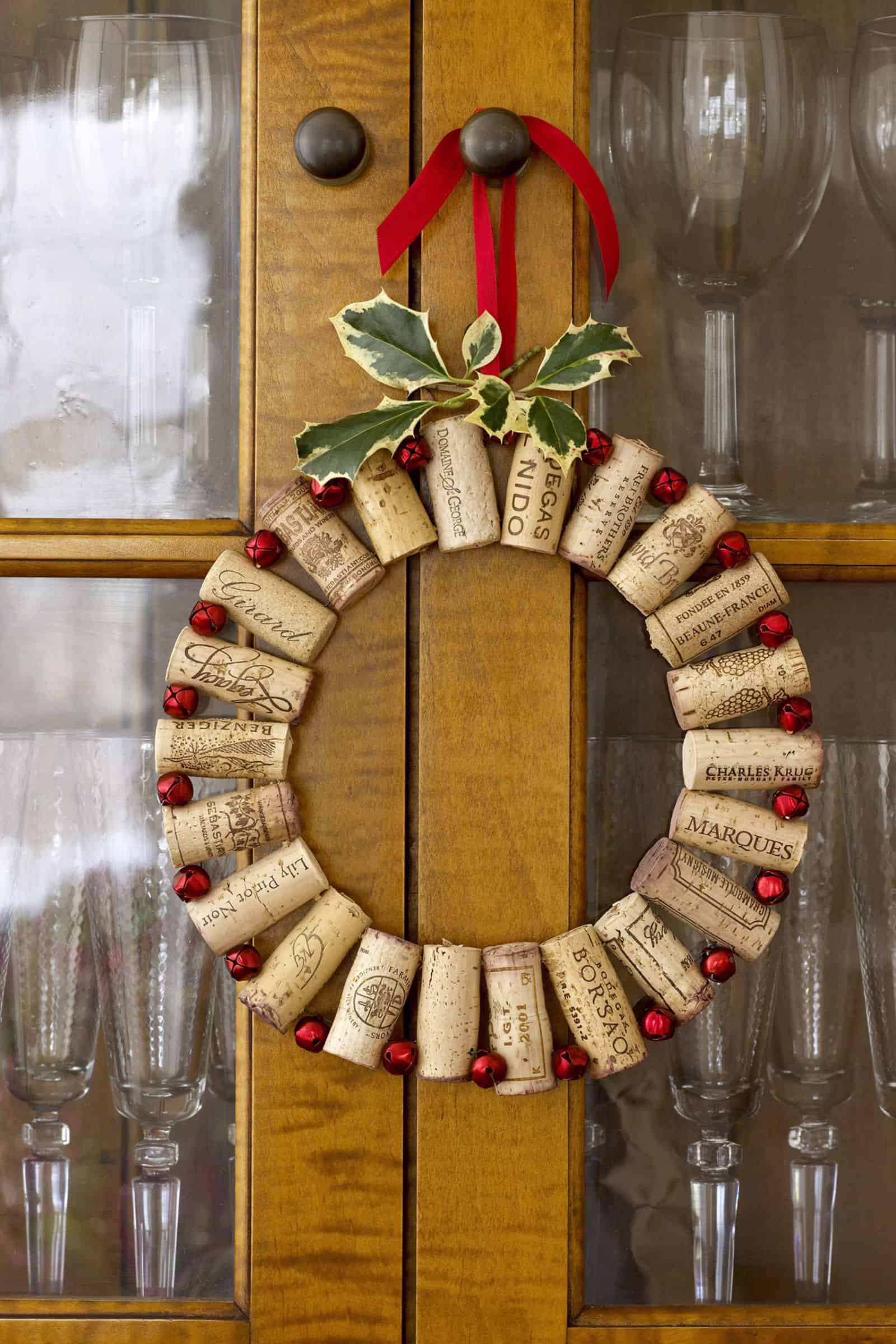 Wine cork and bead christmas wreath