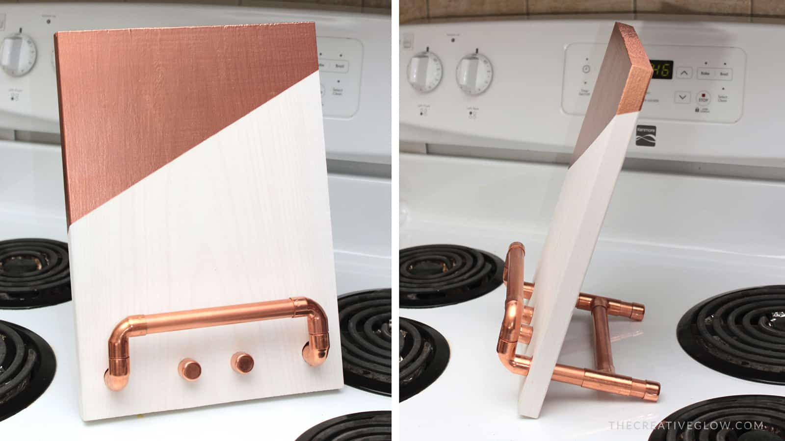 Wood and copper piping tablet stand
