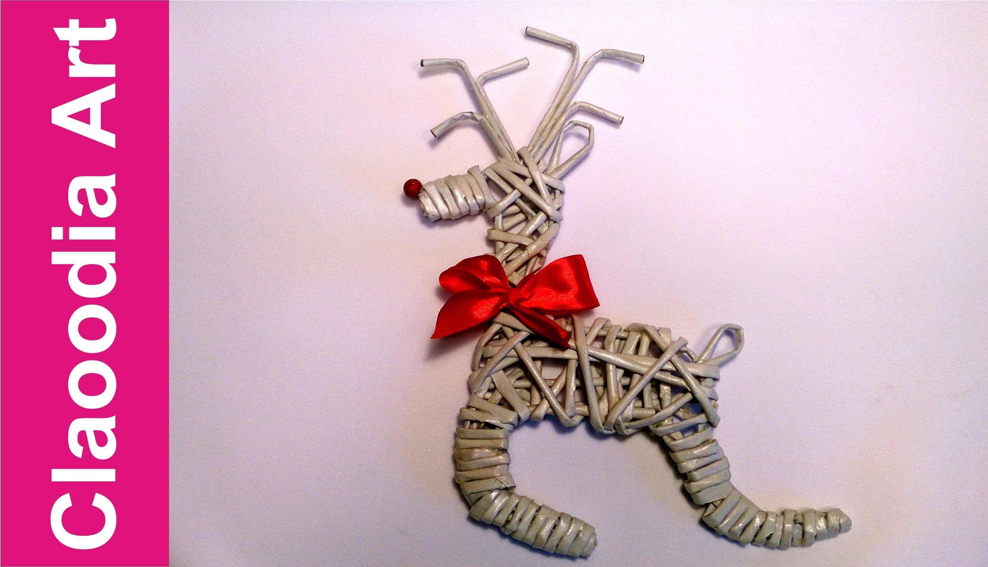 Woven wicker paper reindeer