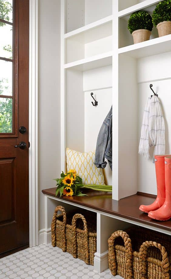 Builtin family lockers entryway idea