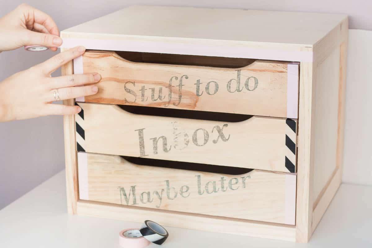 Diy declutter desk drawer makeover tape