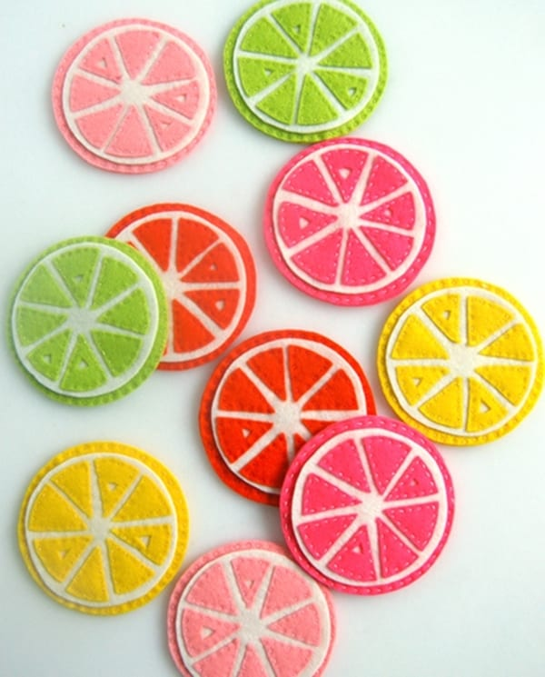 Diy felt citrus slice coasters