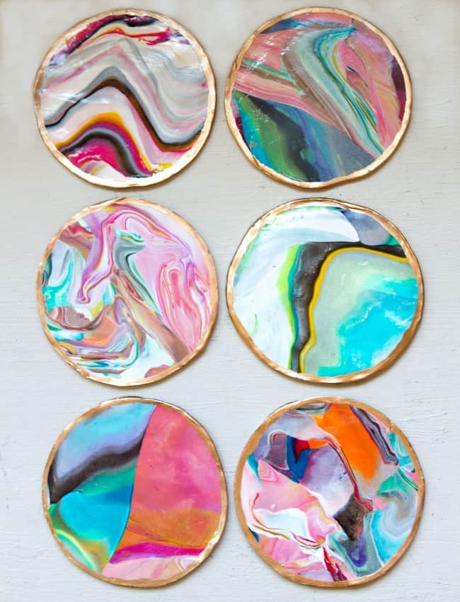 Diy marbled coasters
