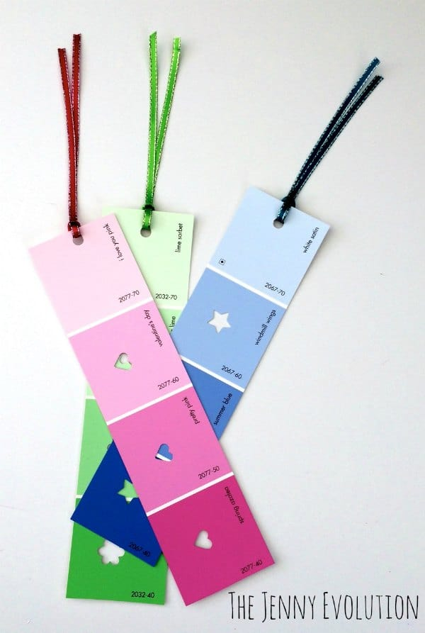Diy paint chip bookmark
